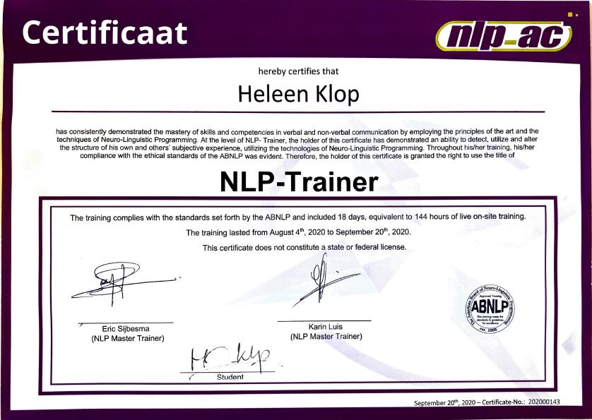 NLP_Trainer_Certificaat